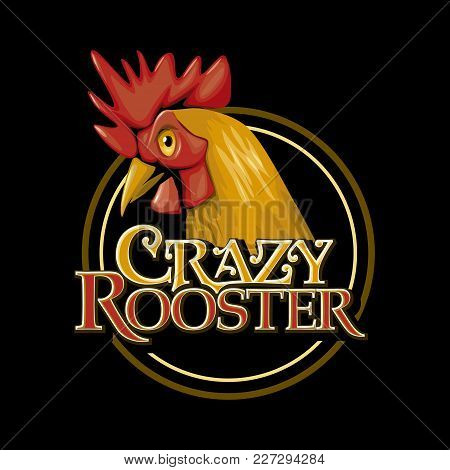 Crazy Rooster Chicken Cock Farm Logo Mascot Vector Illustration Poultry