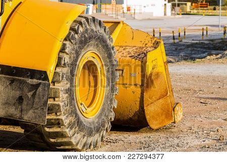 Close Up Of A Tractor Tire, Front End Loader