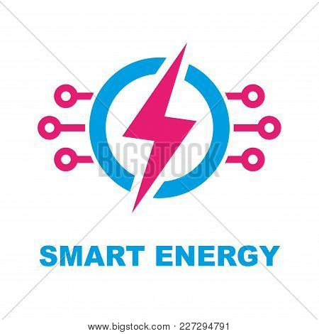 Smart Energy Concept. Vector Logo Template Illustration. Electricity Power Icon. Modern Technology S