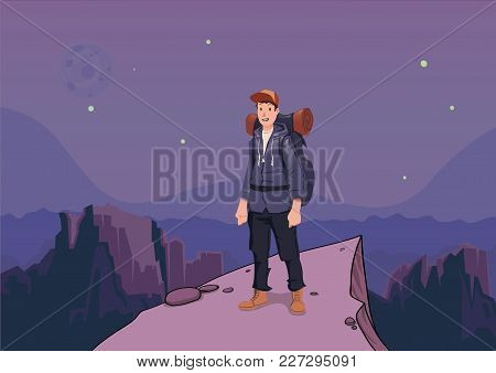 Tourist On A Mountain Is Looking For Help. Backpacker On A Rock. Mountain Landscape In The Twilight.
