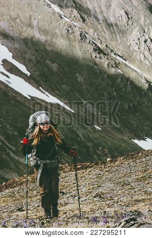 Young Woman With Backpack On Hike In Mountains Travel Healthy Lifestyle Adventure Concept Active Sum