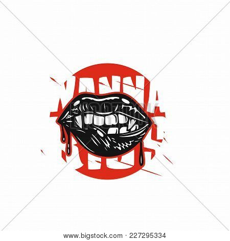 Spooky Halloween Fangs Lips With His Teeth On White Background Vector Illustration Design.