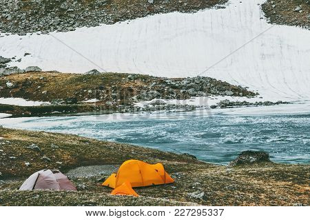 Camping Tents In Mountains Travel Lifestyle Concept Adventure Summer Vacations Outdoor Hiking Equipm