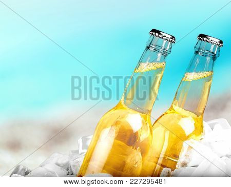 Ice Bottles Beer Color Red Yellow Background