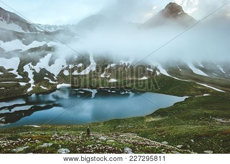 Lake In Mountains Landscape Traveler Hiking Lifestyle Traveling Survival Concept Adventure Outdoor A