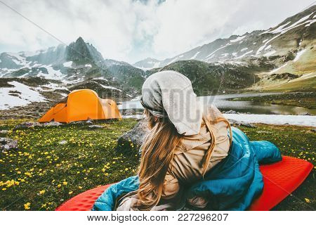 Camping Traveling Woman Relaxing Outdoor In Sleeping Bag On Mat Enjoying Mountains Landscape Lifesty