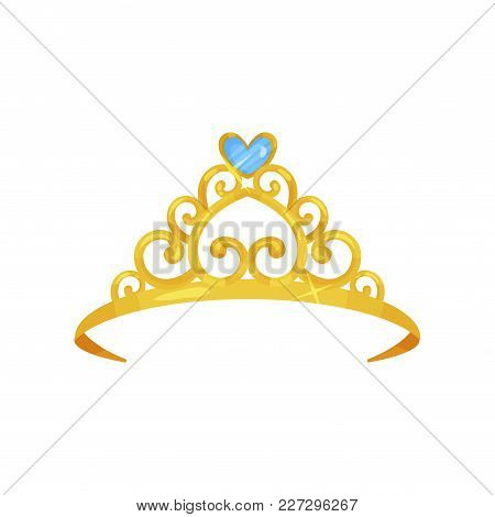 Colorful Illustration Of Golden Princess Crown. Precious Head Accessory. Shiny Queen Tiara Decorated