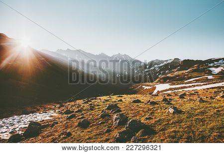 Sunrise Mountains Landscape Summer Travel Serene Scenery Wild Nature