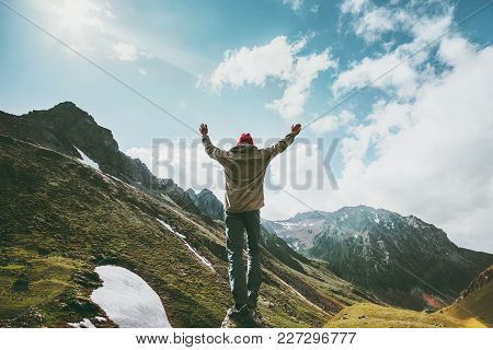 Happy Man Raised Hands Standing On Cliff Wander Mountains View Adventure Travel Lifestyle Concept Su