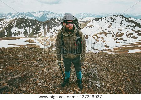 Bearded Man Mountaineering Travel Lifestyle Survival Concept Adventure Outdoor Active Vacations Extr