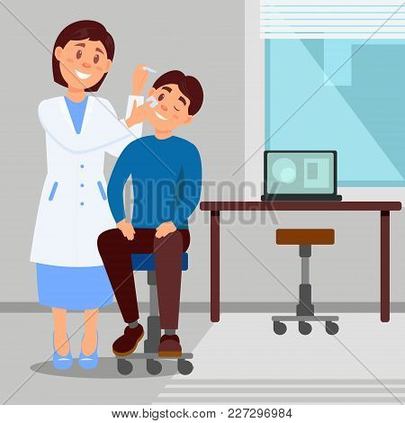 Doctor S Office In Clinic Smiling Woman Treats Eye Of Young Man Using Eye-drops. Cartoon Character O
