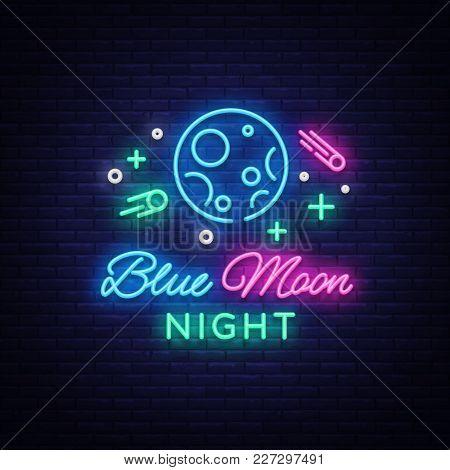 Blue Moon Night Club Logo In Neon Style. Neon Sign, Light Banner, Night Bright Night Club Advertisin