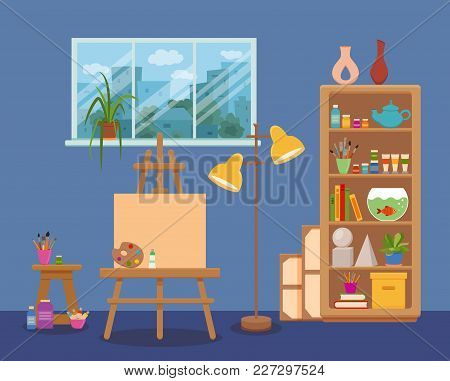 Art Studio Interior Colorful Vector Illustration. Painter Artist Workshop Room With Window And Tools