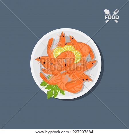 Icon Of Shrimps With Lemon On A Plate. Top View. Restaurant Dish. Seafood. Image Of Prawn. Vector Il