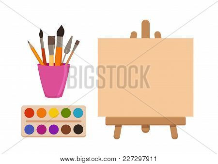 Painting  Tools Elements Cartoon Colorful Vector Set. Art Supplies: Easel With Canvas, Paint Tubes,
