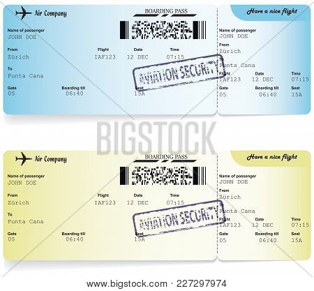 Yellow And Blue Vector Templates Of Boarding Pass Tickets. Concept Of Trip Or Travel