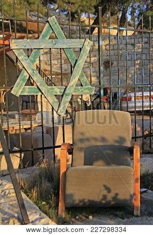 Star Of David Of Wooden Planks Outdoor In Jerusalem, Israel
