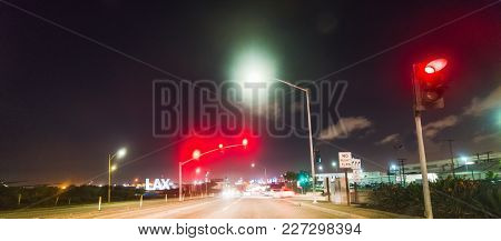Crossroad By Los Angeles International Airport At Night. California, Usa