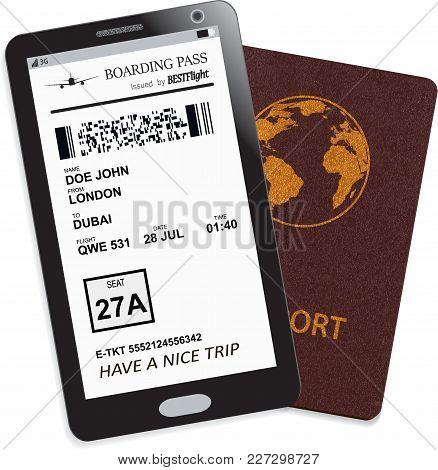 Mobile Phone Or Smartphone With Modern Electronic Boarding Pass Ticket For Travel By Plane And Inter