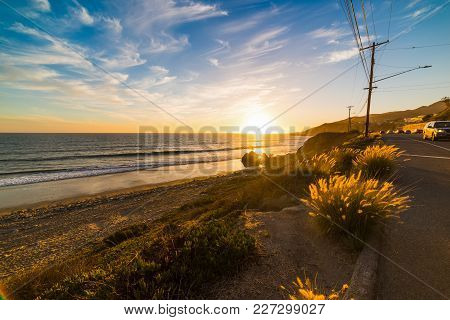 Colorful Sunset In World Famous Malibu. Los Angeles, California