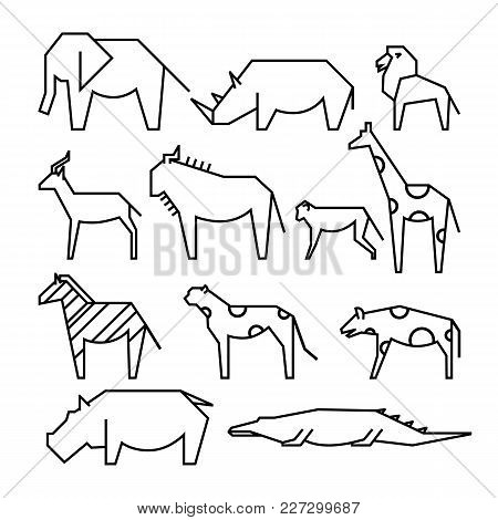 African Animals Line Icons. Line Art Illustration. Elephant, Rhinoceros, Lion, Monkey, Gazelle, Gira