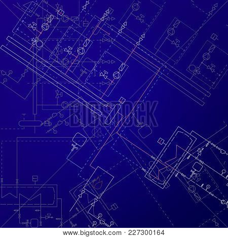 Boiler Room Technical Drawings Vector Illustration. Heater Engineering Project. Blue Background And