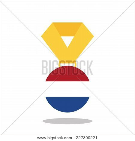 Medal With The Netherlands Flag Isolated On White Background - Vector Illustration.