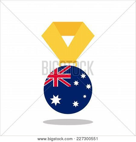 Medal With The Australia Flag Isolated On White Background - Vector Illustration.