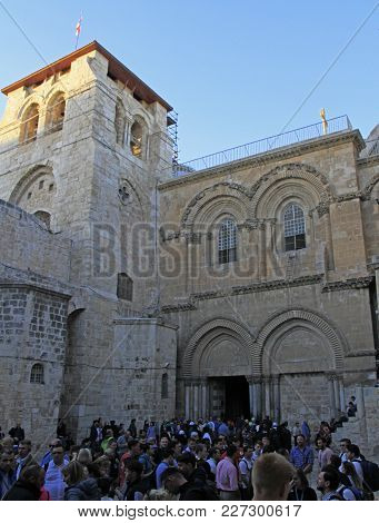 Jerusalem, Israel - December 3, 2017: Church Of The Holy Sepulchre In Jerusalem, Israel