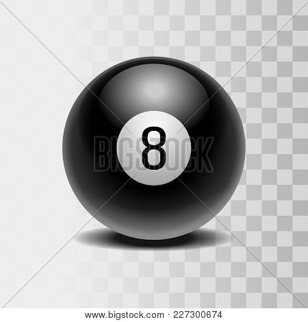 The Magic Ball Of Predictions For Decision-making. Realistic Black Ball With Number Eight Isolated O