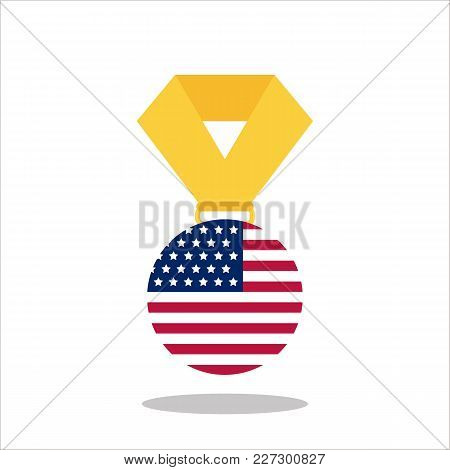 Medal With The Usa Flag Isolated On White Background - Vector Illustration.