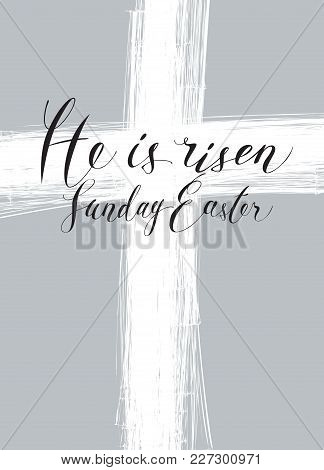 Vector Illustration With The Image Of The Cross Doodled With A Pencil, With Handwritten Inscription