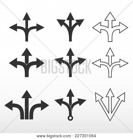 Set Three-way, Direction Arrow. Direction Arrow Sign. Vector Icon.