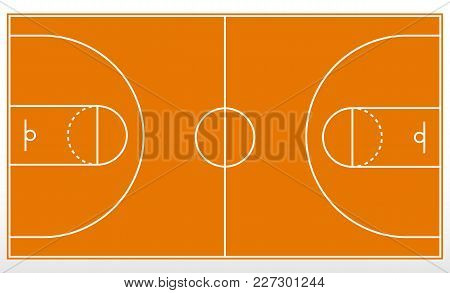 Basketball Court Markup. Outline Of Lines On Basketball Court. Vector Illustration.