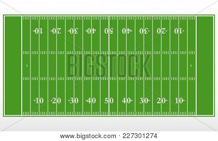 American Football Field Markup. Outline Of Lines On An American Green Football Field. Vector Illustr