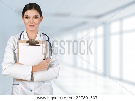 Doctor Woman Attractive Doc Color White Background