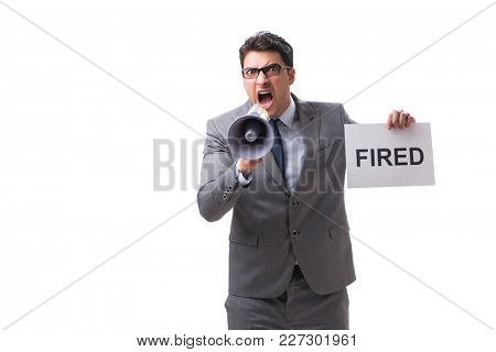 Businessman in dismissal concept isolated on white background