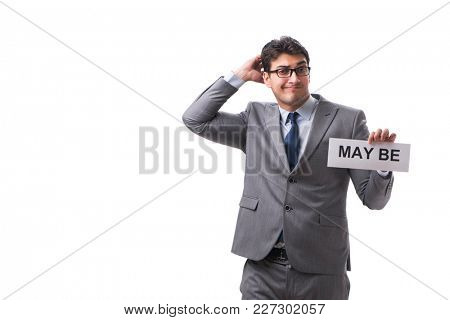 Businessman saying may be isolated on white background