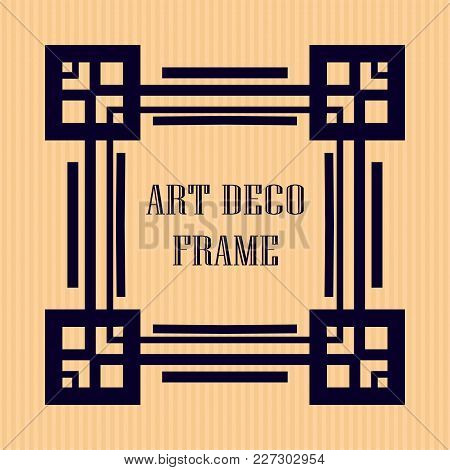 Vintage Retro Frame In Art Deco Style. Template For Design