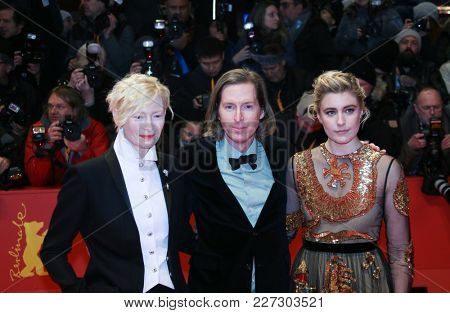 Greta Gerwig, Wes Anderson and Tilda Swinton  attends the 'Isle of Dogs' premiere during the 68th Film Festival Berlin at Palace on February 15, 2018 in Berlin, Germany.