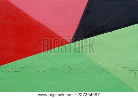 Colorful (pink, Red, Black And Green) Painted Wall With Cracks As Background Or Texture