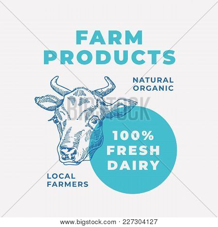 Dairy Products Abstract Vector Sign, Symbol Or Logo Template. Hand Drawn Cow Face Sillhouette With M