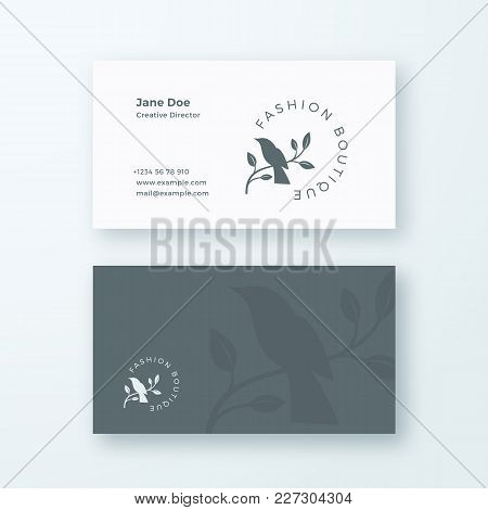 Fashion Boutique. Abstract Feminine Vector Sign Or Logo And Business Card Template. Premium Stationa