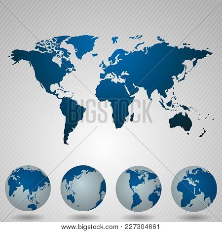 World Map With Angle In Blue Shaded Background.