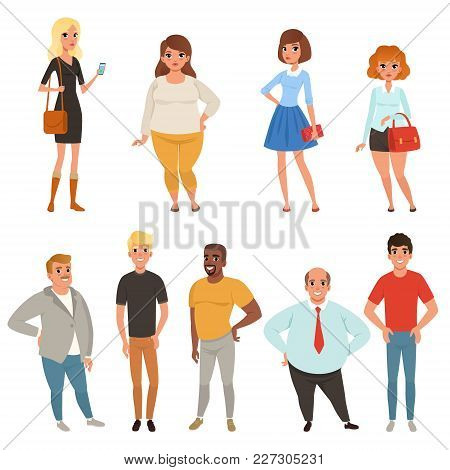 Cartoon Collection Of Young And Adult People In Different Poses. Men And Women Characters Wearing Ca