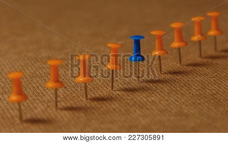 Stationary, Blue Pushpin In Row With Orange, Concept For Difference, Individuality, Leadership. Rena
