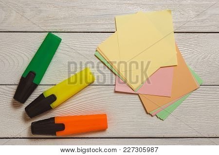 Stationary, Blank Stickers, Colorful Markers, Highlighters On White Wooden Background. Business Plan