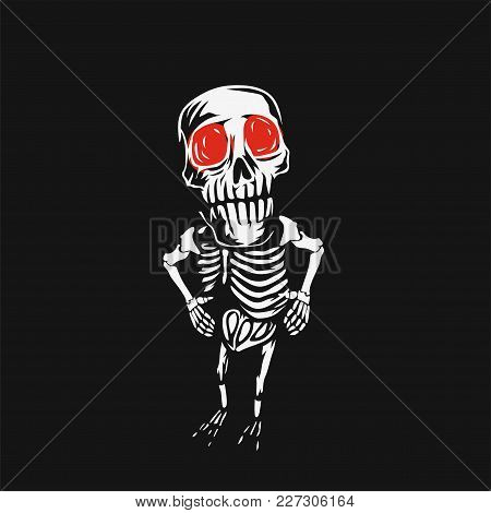Abstract Skeleton With Red Eyes On Black Background Vector Illustration Design.