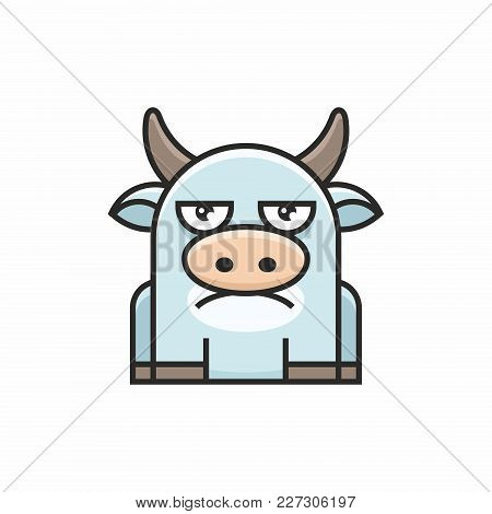 Cute Cow Icon On White Background. Vector Illustration