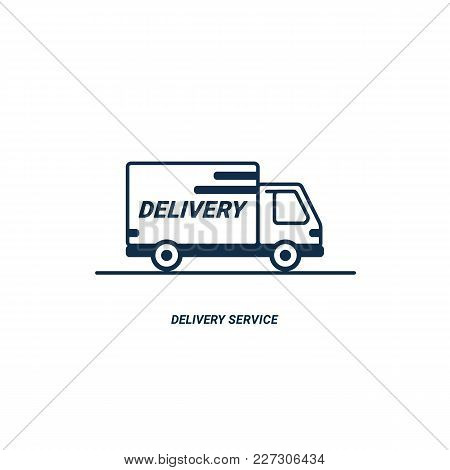Line Icon- Delivery. Van Outline Icon On White Background. Delivery Service. Delivery By Car Or Truc